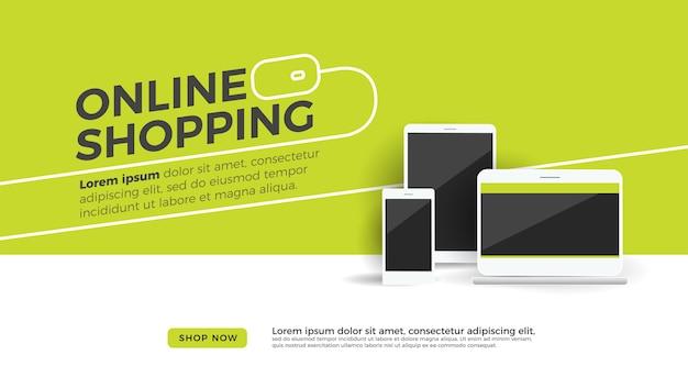 Bureau de concept de magasinage en ligne avec ordinateur portable, tablette et téléphone portable
