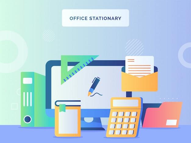 Bureau concept stationnaire moniteur ordinateur fond de calculatrice livre courrier fichier dossier règle avec style plat.