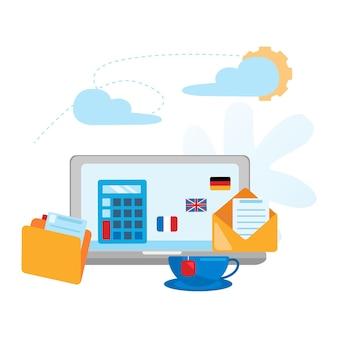 Bureau de concept workspace.workplace pour les entreprises. bureau de concepteur en illustration vectorielle design plat.