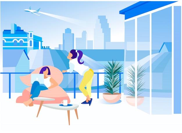 Bureau de coworking de balcon de lieu de travail créatif