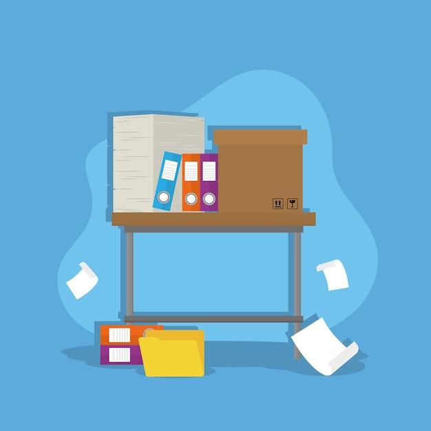 Bureau avec documents en boîte