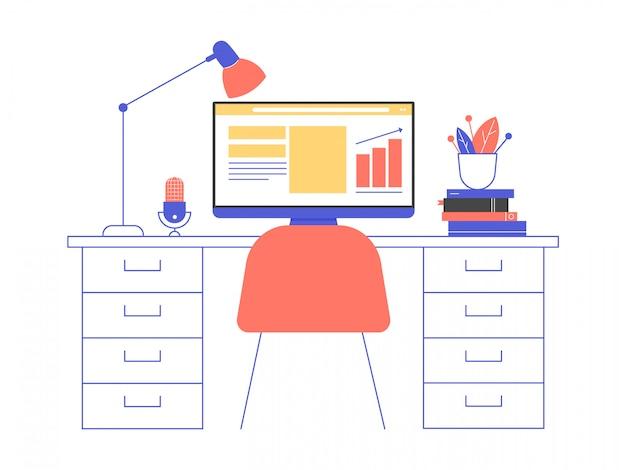 Bureau à domicile. bureau, ordinateur avec graphiques, microphone, livres, fleur en pot, lampe.