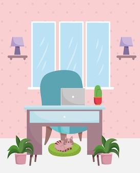 Bureau à domicile chaise de bureau intérieur ordinateur portable plantes de cactus et illustration de chat