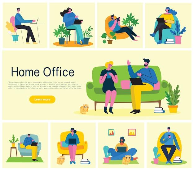 Bureau à domicile. les gens à la maison en quarantaine.