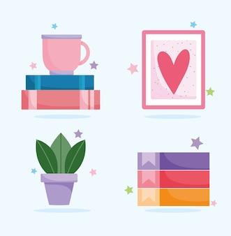 Bureau à domicile lieu de travail tasse à café livres liants d'usine et jeu d'icônes d'image