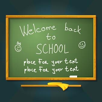 Bureau d'école avec craie, message de bienvenue