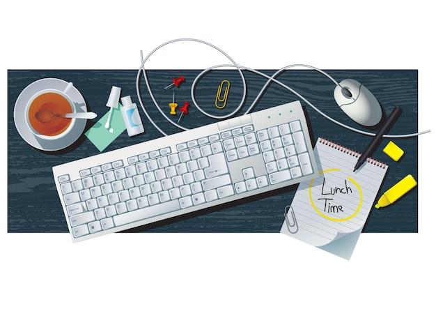 Bureau encore la vie avec clavier