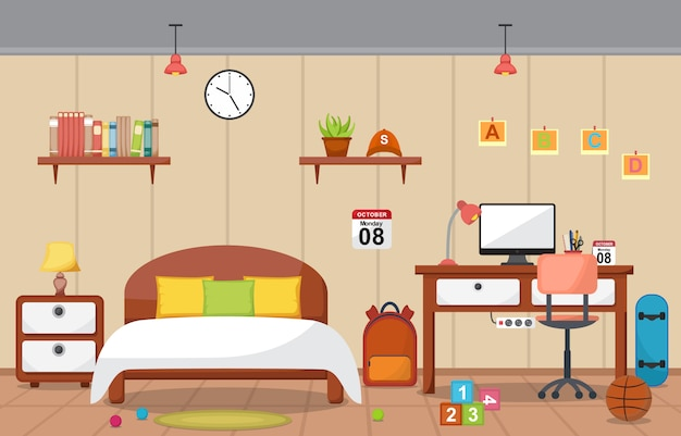 Bureau d'étude étudiant table chambre intérieur mobilier de chambre
