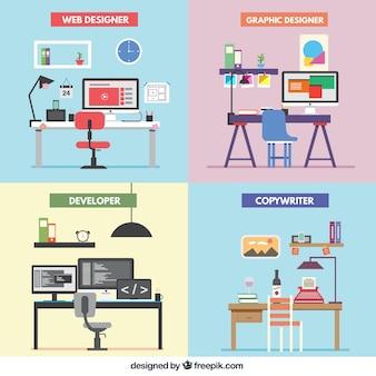 Bureau Freelance Vecteur Premium