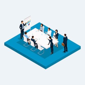 Bureau de grande hauteur de salle isométrique, négociations de réunion, brainstorming