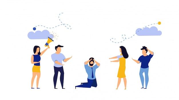 Bureau de l'homme déprimé bully business illustration. dessin animé employé fatigué stress au travail.