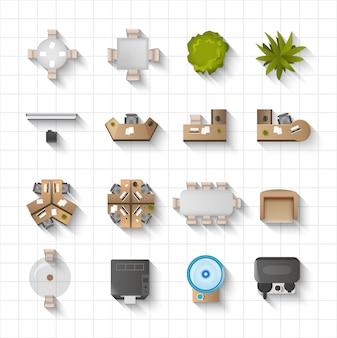 Bureau intérieur icônes vue de dessus