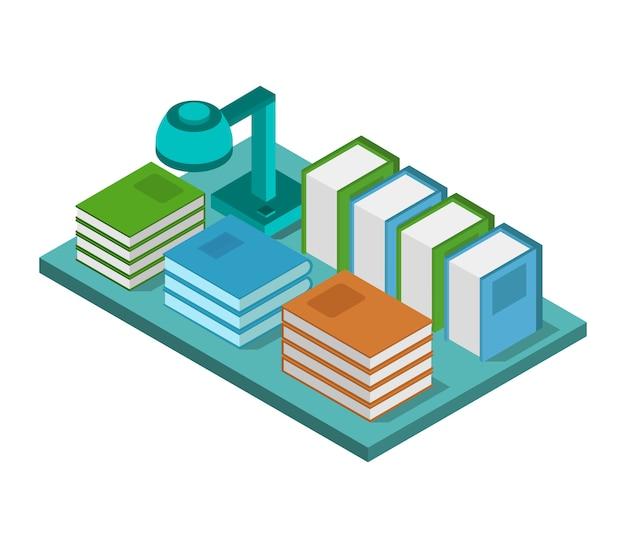 Bureau isométrique avec des livres