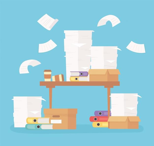 Bureau avec liants papier et feuilles de travail de bureau stress