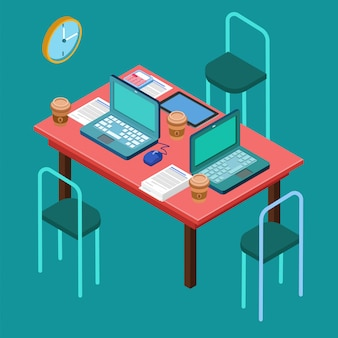Bureau lieu de travail. espace de travail moderne. réunion d'affaires. travail d'équipe. processus de travail. concept isométrique. ordinateur portable, ordinateur, tablette