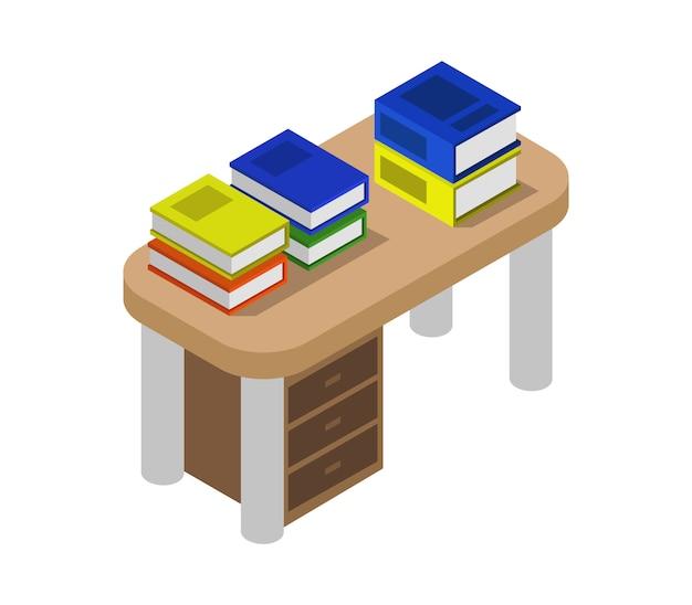 Bureau avec livres isométriques