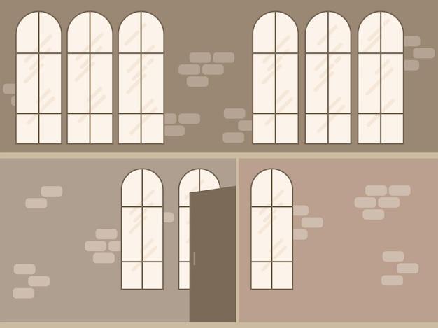 Bureau de loft moderne de vecteur ou intérieur de salle de classe scène vide de deux étages dans un style plat