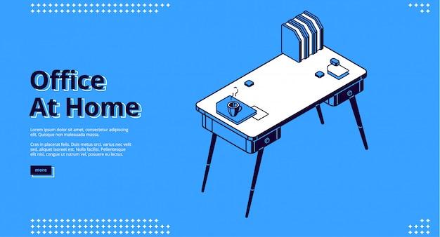 Bureau à la maison, page de destination isométrique, lieu de travail