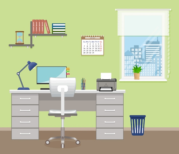 Bureau avec meubles et fenêtre. design d'intérieur de bureau sans personnes. espace de travail intérieur.