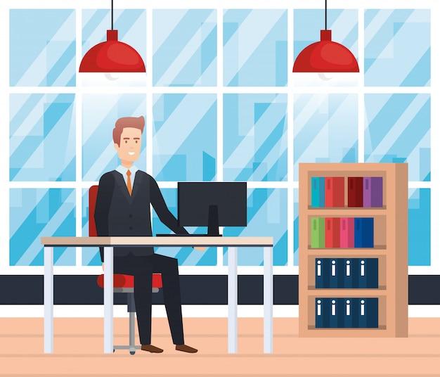 Bureau moderne avec homme d'affaires