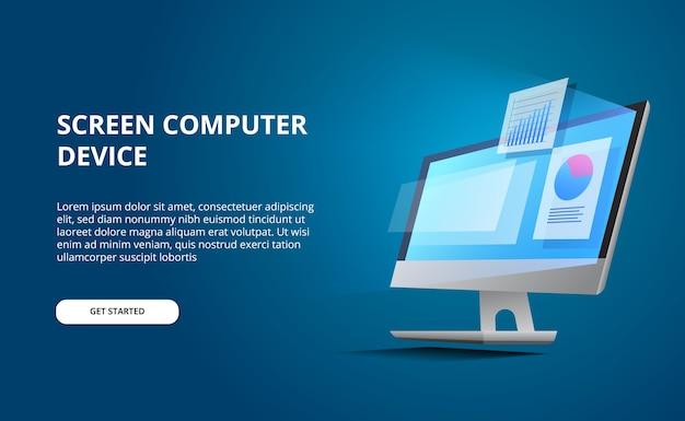 Bureau d'ordinateur en perspective isométrique avec écran lumineux. ordinateur d'affichage avec infographie et visualisation de données statistiques de camembert avec fond bleu