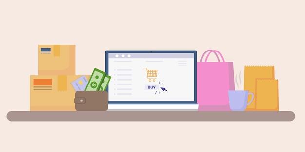 Bureau d'ordinateur avec portefeuille, carte de crédit et argent, boîtes et sacs à provisions.