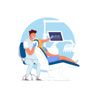 Bureau d'orthodontie. médecin orthodontiste examinant