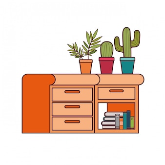 Bureau avec pile de livres