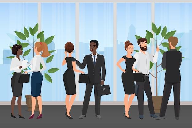 Bureau de réunion d'affaires groupe de personnes équipe debout et parler ensemble