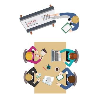 Bureau réunion salle vue de dessus rapport entreprise collaboration travail d'équipe brainstorming concept plat. personnel autour de la table travaillant avec une tablette portable. collection de personnes créatives.
