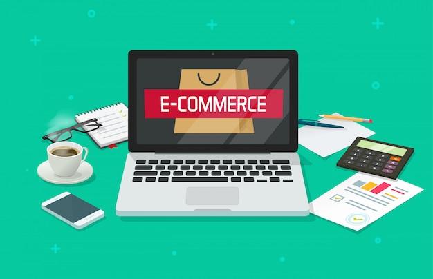 Bureau de table de travail de commerce électronique avec ordinateur portable analysant la bande dessinée plate de magasin en ligne