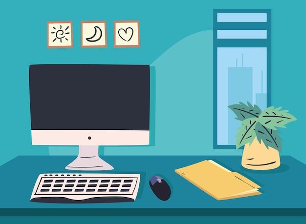 Bureau de travail avec fichier informatique et conception d'usine, bureau de travail