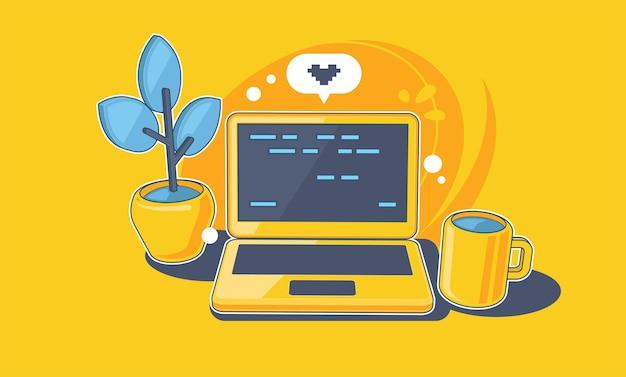 Bureau de travail avec ordinateur portable travail à domicile illustration de concept de développement logiciel indépendant