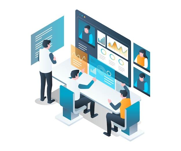 Bureau virtuel travaillant avec appel vidéo en conception isométrique