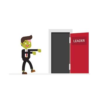 Bureau zombie aller à la porte du succès