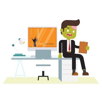 Bureau zombie assis au bureau au bureau