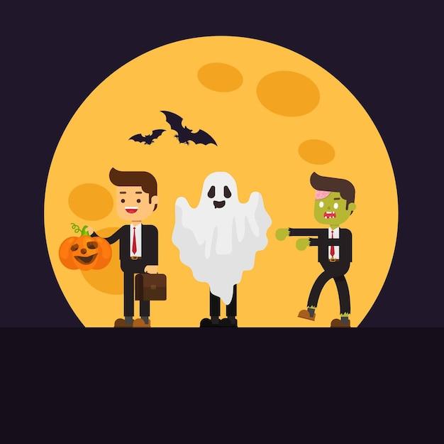 Bureau zombie, homme d'affaires avec citrouille, fantôme