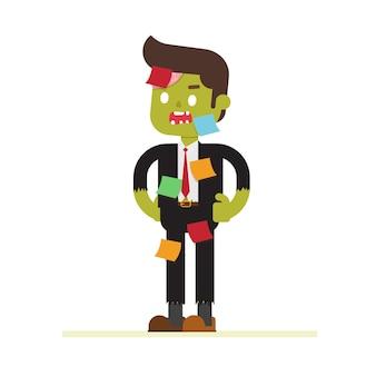 Bureau de zombie, homme d'affaires portant halloween