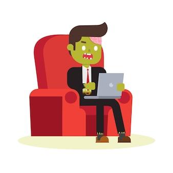 Bureau zombie travaillant sur un fauteuil rouge
