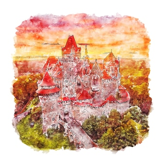 Burg kreuzenstein autriche illustration aquarelle croquis dessinés à la main