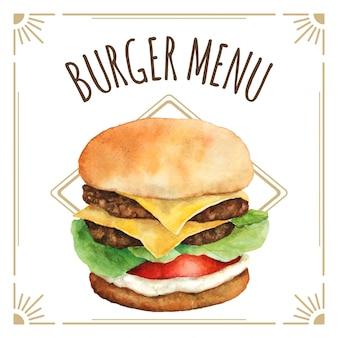 Burger à l'aquarelle pour la conception du menu