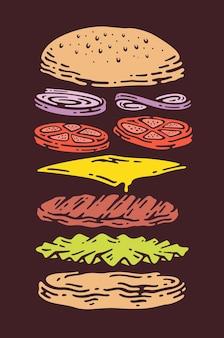 Burger au fromage avec des couches ou des ingrédients dessinés à la main