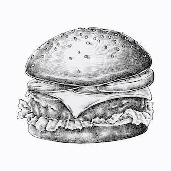 Burger au fromage dessiné à la main