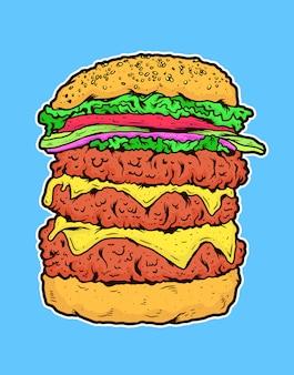 Burger de boeuf triple avec illustration vectorielle de fromage