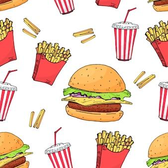 Burger. cola. pomme de terre libre. modèle sans couture coloré de fast-food
