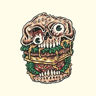 Burger de crâne dessiné à la main
