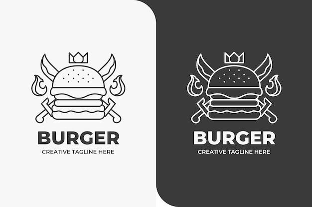 Burger crown king restaurant de fruits de mer logo monoline