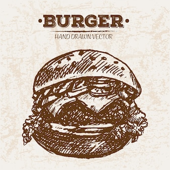 Burger Dessiné à La Main Vecteur Premium
