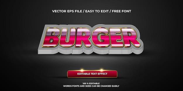Burger à effet de texte modifiable de luxe style de texte 3d