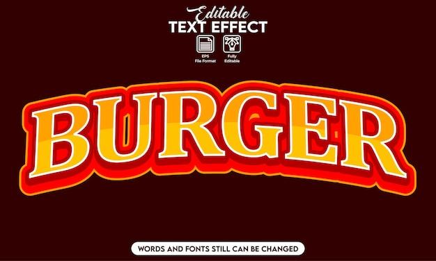 Burger à effet de texte modifiable